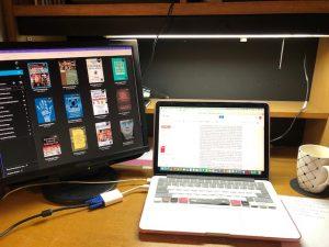 課題の本はほとんど電子書籍で読みました。左はコンピューター上の私の本棚