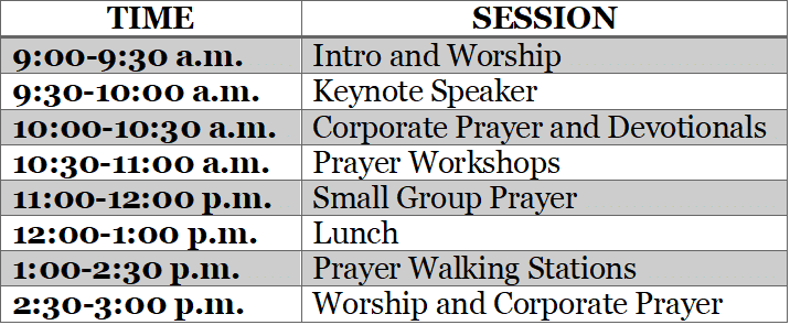 Prayer Event Schedule
