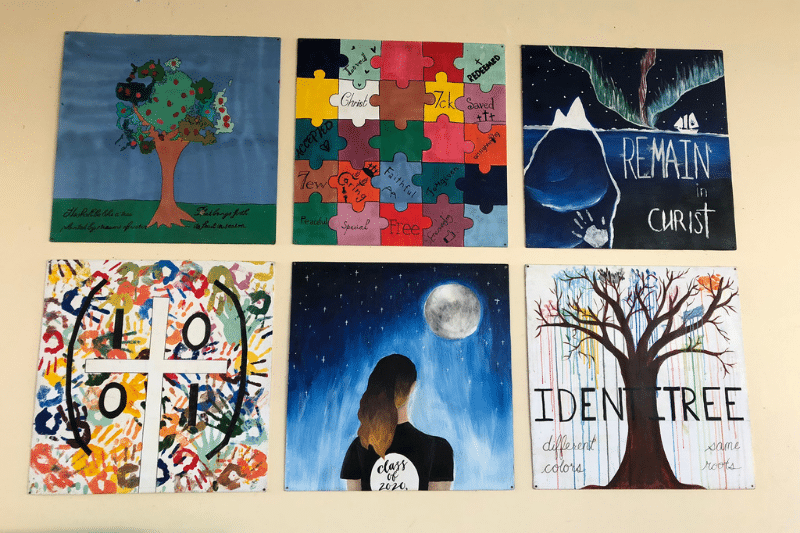Art projects from hope international school showing themes of identity and faith